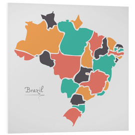 Foam board print  Brazil map modern abstract with round shapes - Ingo Menhard