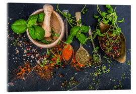 Acrylic print  Mortar with herbs and spice