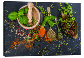 Canvas print  Mortar with herbs and spice