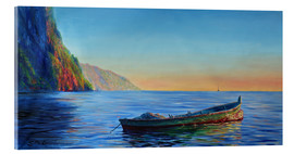 Acrylic print  base of petit piton with gommier boat - Jonathan Guy-Gladding