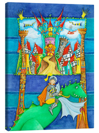 Canvas print  Knights Dragon and the Knight's Castle - Atelier BuntePunkt