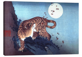 Canvas print  The Tiger and the moon - Katsushika Hokusai