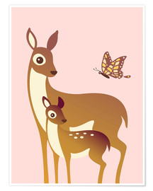 Premium poster  Mom And Baby Deer With Butterfly - Ashley Verkamp