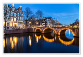 Premium poster  Amsterdam Bridges at night - Mike Clegg Photography
