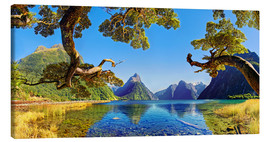 Canvas print  Look in the Milford Sound New Zealand - Michael Rucker