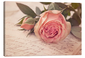 Canvas print  Rose on the old letter - Elena Schweitzer