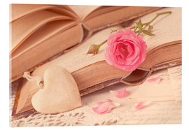 Acrylic print  Rose and the old books - Elena Schweitzer