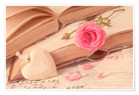 Premium poster  Rose and the old books - Elena Schweitzer