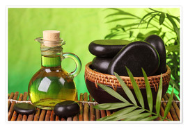 Premium poster  Spa still life with hot stones and essential oil - Elena Schweitzer