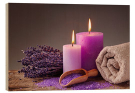 Wood print  Spa still life with candles and lavender - Elena Schweitzer