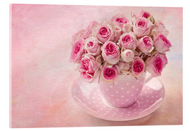 Acrylic print  Roses in a cup - Elena Schweitzer
