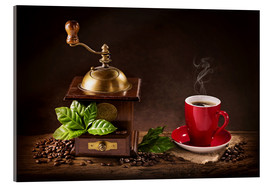 Acrylic print  Coffee mill with a cup of coffee - Elena Schweitzer
