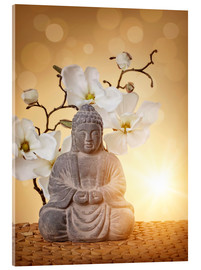 Acrylic print  Buddha statue and orchid - Elena Schweitzer