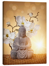 Canvas print  Buddha statue and orchid - Elena Schweitzer