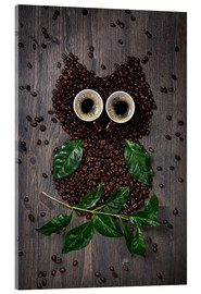Acrylic print  Coffee owl from beans, leaves and cups - Elena Schweitzer
