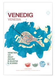 Premium poster  Venice city motif card - campus graphics