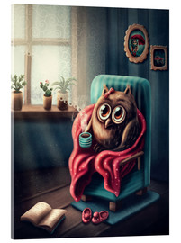 Acrylic print  Owl with a cup of coffee - Elena Schweitzer