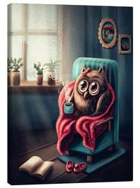 Canvas print  Owl with a cup of coffee - Elena Schweitzer