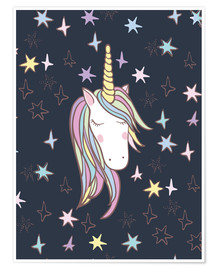 Premium poster Unicorn at night