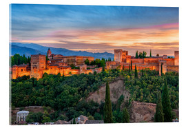 Acrylic print  Red Alhambra in the Evening - Jürgen Feuerer