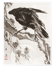 Premium poster  Crow and the Moon - Kawanabe Kyosai