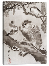 Canvas print  Owl Mocked by Small Birds - Kawanabe Kyosai
