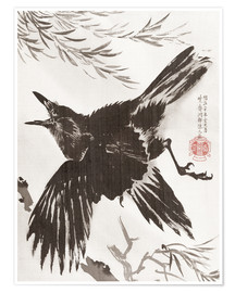Premium poster  Crow and Willow Tree - Kawanabe Kyosai
