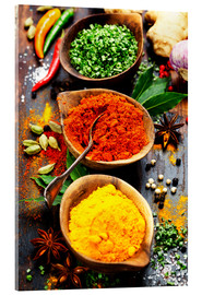 Acrylic print  Spices and herbs on wood