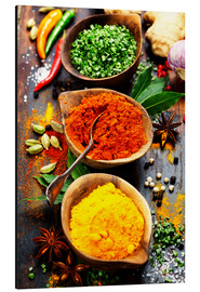 Aluminium print  Spices and herbs on wood
