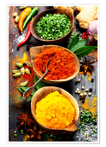 Premium poster Spices and herbs on wood