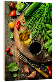 Wood print  Healthy bio vegetables and spices
