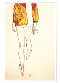 Premium poster  Standing half naked with a brown shirt - Egon Schiele