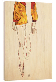 Wood print  Standing half naked with a brown shirt - Egon Schiele