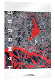 Acrylic print  Hamburg city map midnight - campus graphics