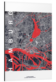 Aluminium print  Hamburg city map midnight - campus graphics