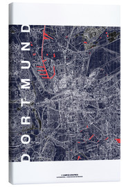 Canvas print  City of Dortmund Map midnight - campus graphics