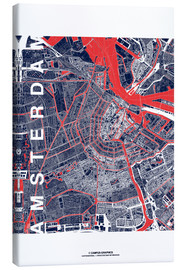 Canvas print  City of Amsterdam Map midnight - campus graphics