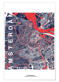 Premium poster  City of Amsterdam Map midnight - campus graphics