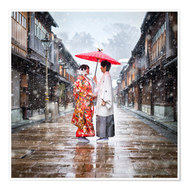 Premium poster  Japanese wedding parade in winter in Kanagawa, Japan - Jan Christopher Becke