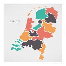 Premium poster  Netherlands map modern abstract with round shapes - Ingo Menhard