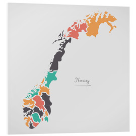 Foam board print  Norway map modern abstract with round shapes - Ingo Menhard