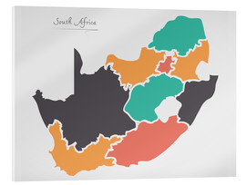 Acrylic print  South Africa map modern abstract with round shapes - Ingo Menhard