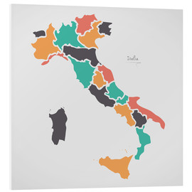 Foam board print  Italy map modern abstract with round shapes - Ingo Menhard