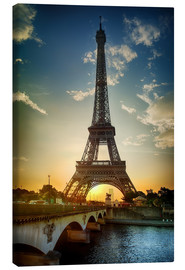 Canvas print  Eiffel Tower and Pont d'Iena on Seine in Paris