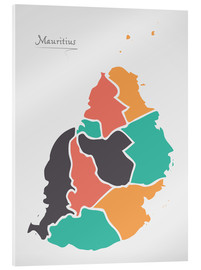 Acrylic print  Mauritius map modern abstract with round shapes - Ingo Menhard