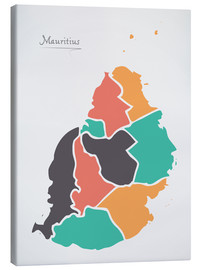 Canvas print  Mauritius map modern abstract with round shapes - Ingo Menhard