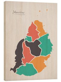 Wood print  Mauritius map modern abstract with round shapes - Ingo Menhard