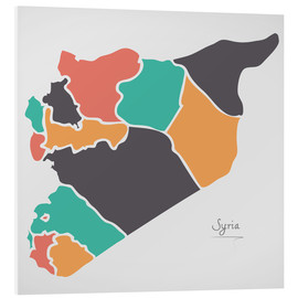 Foam board print  Syria map modern abstract with round shapes - Ingo Menhard