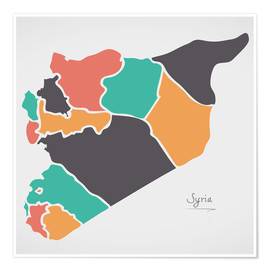 Premium poster Syria map modern abstract with round shapes