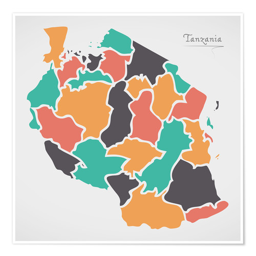 Premium poster Tanzania map modern abstract with round shapes